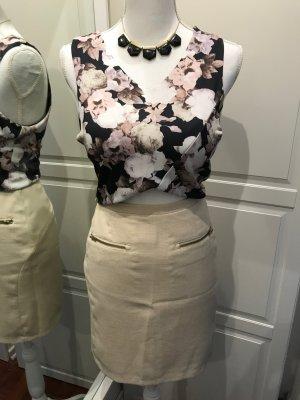 Neuer Highwaist Designer Rock von Kiomi mit Reißverschlüssen Chic Elegant beige