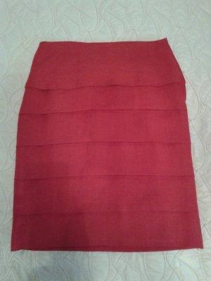 Gelaagde rok rood Linnen
