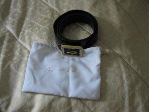 Cintura di pelle nero-sabbia Pelle