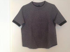 Zara Knit Short Sleeve Sweater dark grey-black mixture fibre