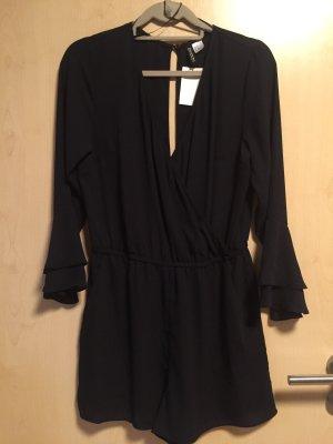 H&M Vestido cruzado negro Poliéster