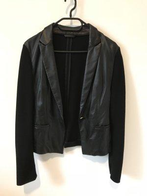 Hugo Boss Blazer de cuero negro tejido mezclado