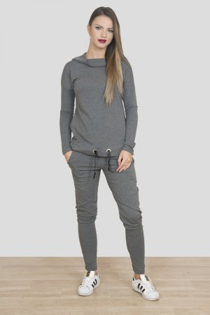 Neuer luxus Damen Jogginganzug Jogger 2-Teiler in dunkel grau passt bei 36-40