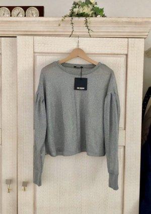 Zara Pullover a maglia grossa argento