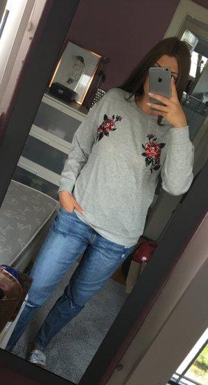 neuer moderner blumen verzierung Pullover grau mit Pailletten