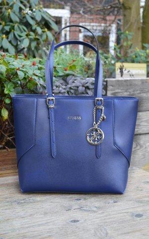 Neuer originaler Guess Shopper Tasche dunkelblau mit gold