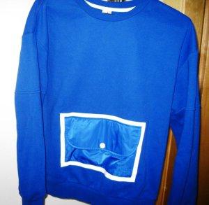 Neuer origineller Pullovr mit Tasche, royalblau, glänzend