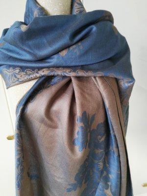 Pashmina crème-bleu pâle