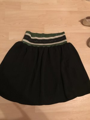 Maison Scotch Gonna a balze nero-verde bosco