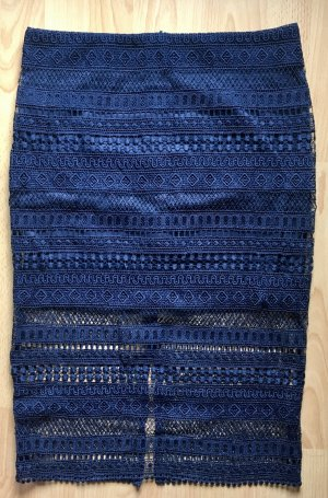Mango Lace Skirt dark blue