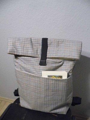 Neuer Rucksack handarbeit Creme Kariert mit Rolltop Minimalistisch Clean Chic NP 85