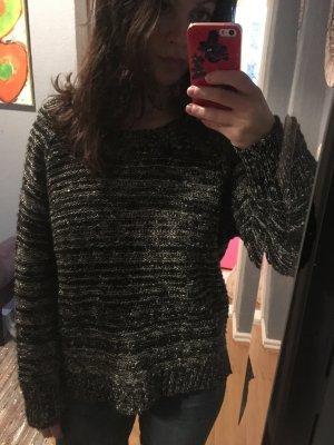 Neuer schwarz weiß melierter Woll Pullover