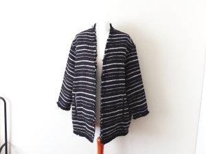 Neuer schwarz weißer Mango Blazer Gr. L 40 Jacke boucle oversized trend