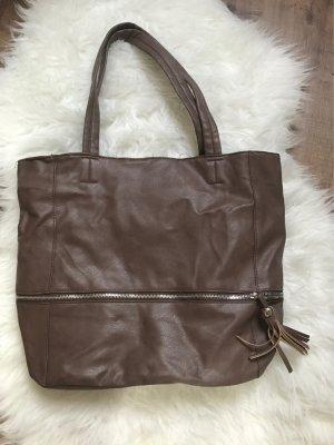 Neuer Shopper in Braun mit Kordel Handtasche Schultertasche