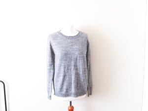 Neuer silber grauer Mango Suit Pullover Gr. L 40 38 glitzer Knopfleiste