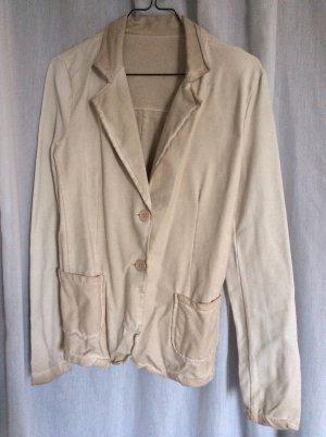 NEUER Sweat-Blazer mit Farbverlauf in Creme-Taupe & Ärmel-Patches