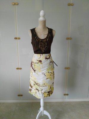 Vera Mont Taffeta Skirt dark brown-pale yellow