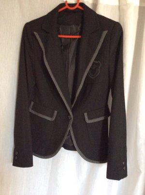 NEUER Woll-Blazer im College-Stil schwarz/grau Gr 38