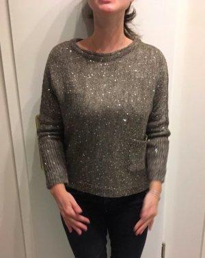 NEUER Wunderschöner Grauer Pullover für Abends mit Glitzer Pailletten