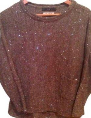 NEUER Wunderschöner Grauer Pullover für Abends mit Glitzer Pailletten von Oui