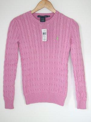 Neuer Zopfstrick-Pullover in rosa von Ralph Lauren