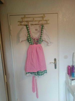 NEUES 3 tlg.baumwolldirndl grün-weiß kariert mit rosa schürze