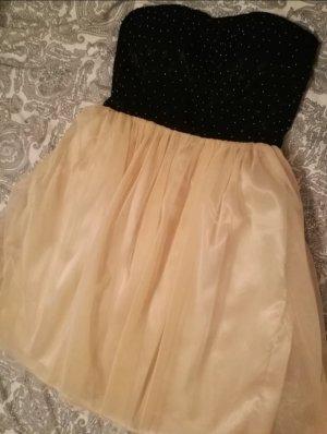 Vila Vestido strapless negro-beige claro