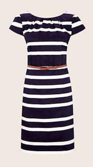 Neues blau-weiß gestreiftes Comma-Kleid mit Gürtel