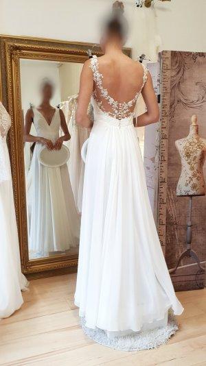 Neues Brautkleid Hochzeitskleid vintage ivory - tiefer Rücken mit Spitze 34/36 NEU