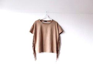 Neues Cinque Shirt Gr. 36 38 wildleder faux leather beige camel Fransen