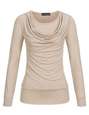 Camisa con cuello caído crema