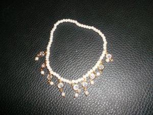 neues fuss/arm kettchen,perlen,steine,weiss/gold