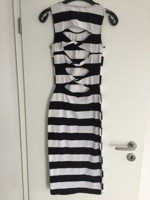 NEUES Gestreiftes Cut-Out-Kleid schwarz/weiß