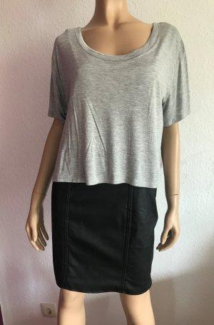 Neues H&M Kleid Gr. 40 Lederkleid Lederrock Leder Minikleid Schwarz Grau