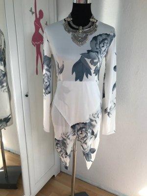 Robe portefeuille blanc-gris