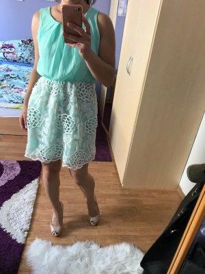 Babydoll-jurk wit-turkoois