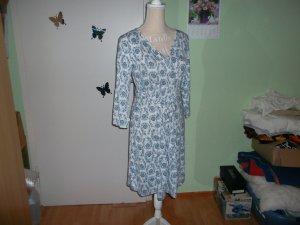 Dress azure-white viscose