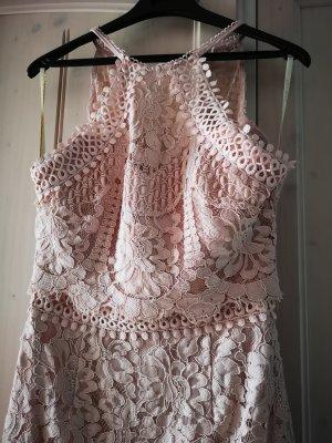 Lipsy Vestido de encaje rosa empolvado