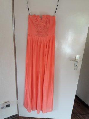 Neues Maxikleid langes Kleid H&M Gr. 36 orange apricot mit Etikett plissiert