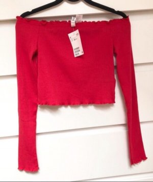 H&M Camicia lunga rosso scuro-rosso
