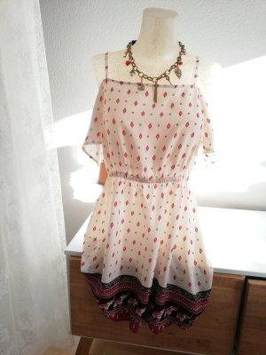 H&M Off-The-Shoulder Dress cream-bordeaux