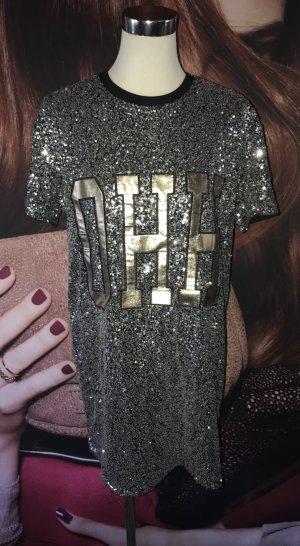 H&M Divided Robe à paillettes noir-argenté