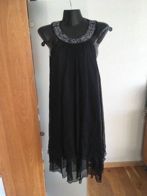 esprit collection Vestido de cuello Halter negro-color plata