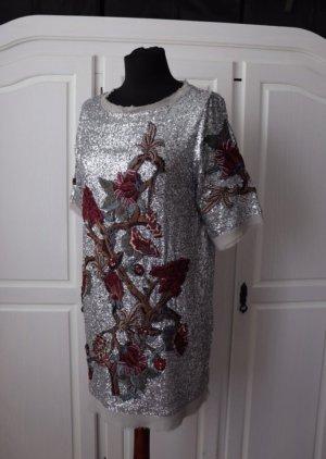 Neues Pailletten Kleid von Zara Größe M Silber Stickerei