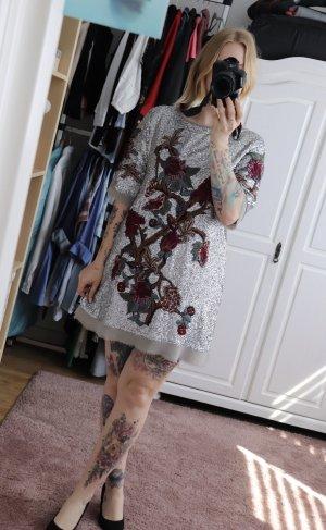 Neues Pailletten Kleid von Zara in Silber Größe M mit Stickerei