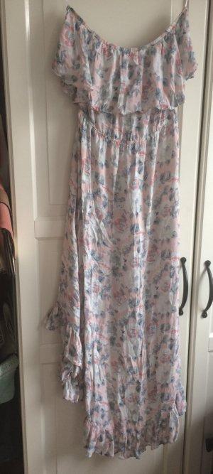 **Neues schönes pastell Carmen Blumenkleid in Pastellfarben , vorne kurz hinten lang**