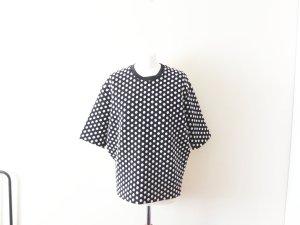 neues schwarz weißes gepunktetes Sandro T-Shirt Gr. 3 38 40 Seide Baumwolle