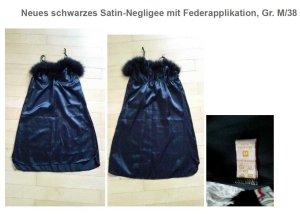 Neues schwarzes Satin-Negligee mit Federapplikation, Gr. M/38