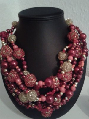 NEUES !!! SEHR EXKLUSIVES MEHRREIHIGES COLLIER IN ROT-GOLD