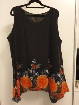 Camisa tipo túnica negro-naranja